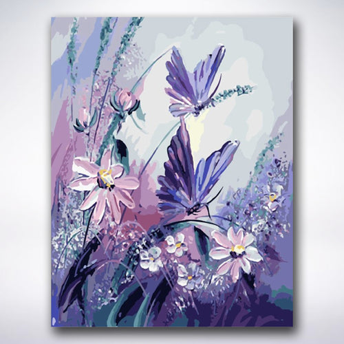 Purple Butterfly Flowers - Paint by number