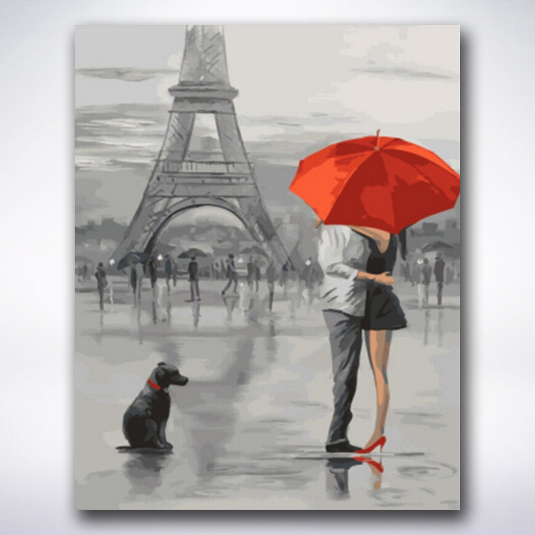 Rainy Eiffel Tower Kiss - Paint by number