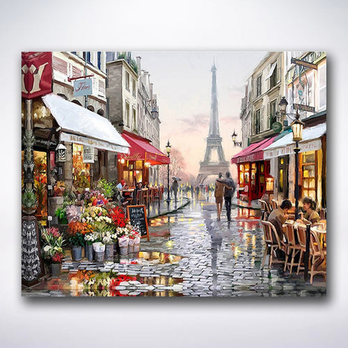 Rainy Streets Of Paris - Paint by number