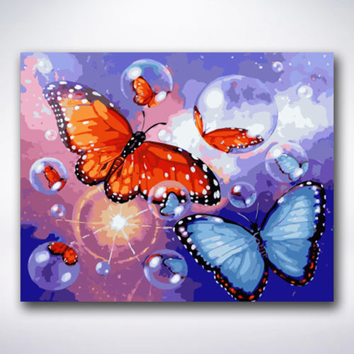 Red And Blue Butterflies - Paint by number