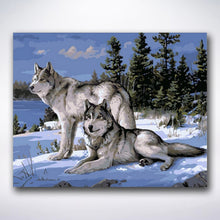Load image into Gallery viewer, Reigning Wolf Couple - Paint by number