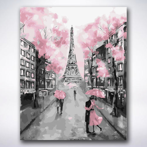 Romantic Eiffel Tower Road - Paint by number