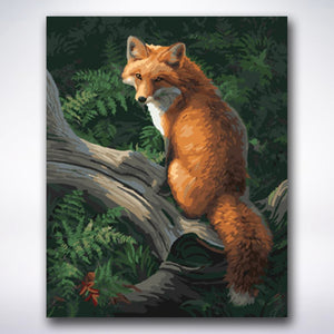 Sly Fox On A Tree Trunk - Paint by number
