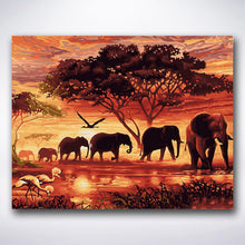 Load image into Gallery viewer, Sunset Elephants - Paint by number