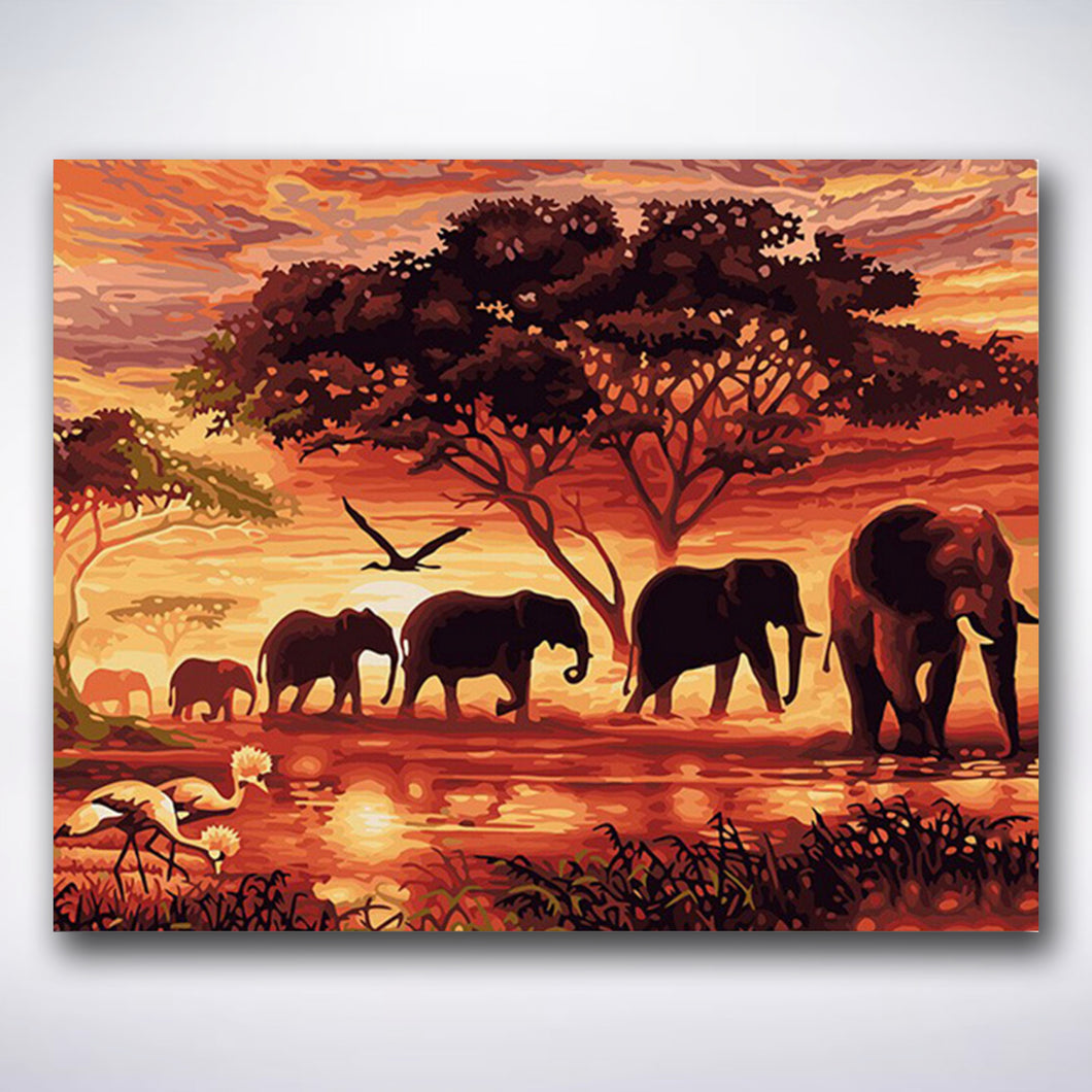 Sunset Elephants - Paint by number