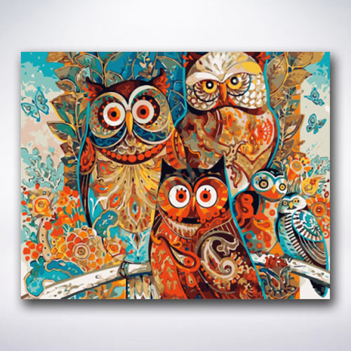 Unique Pattern Owls - Paint by number