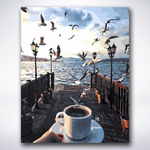 Wakeup Coffee By Lake - Paint by number