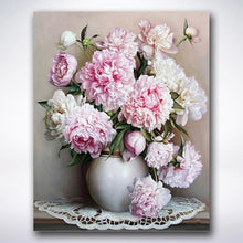 Load image into Gallery viewer, White And Pink Flowers In A Vase - Paint by number