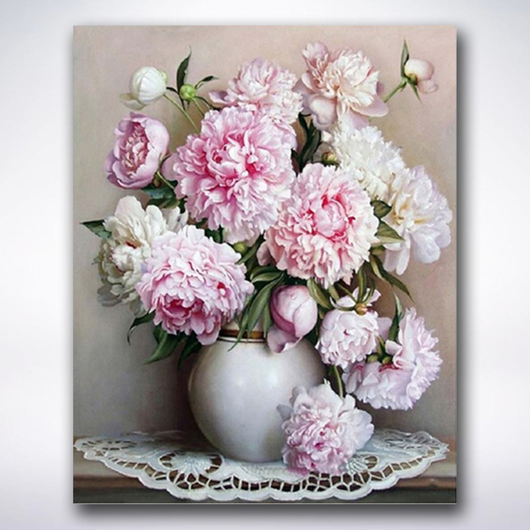 White And Pink Flowers In A Vase - Paint by number