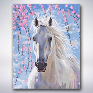 White Horse Underneath Pink Flowers - Paint by numbers