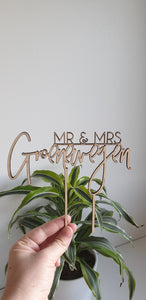 Mr & Mrs Wedding Cake Topper - Personalised