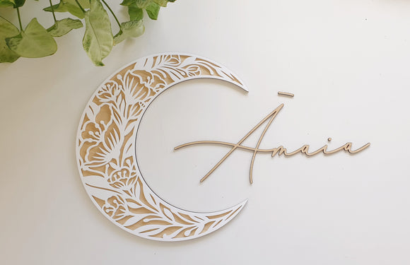 Floral Luna Wall Name