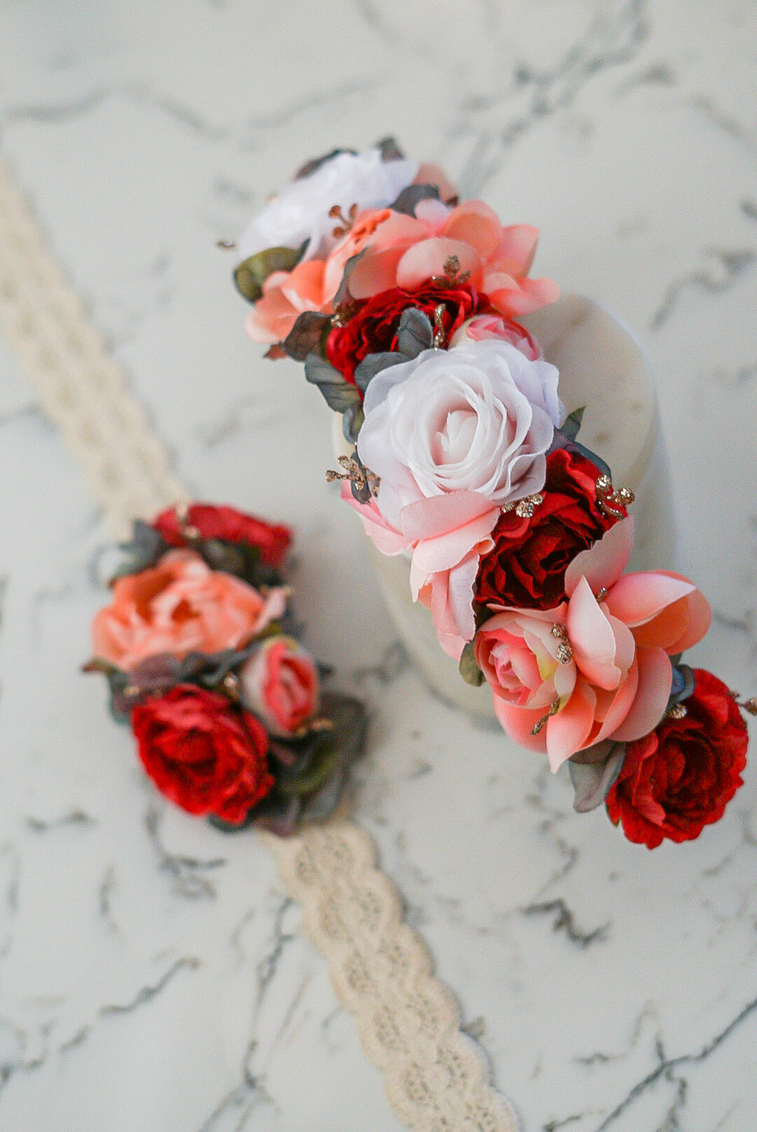 Diana - Matching Set (Small 4inch crown & floral comb)