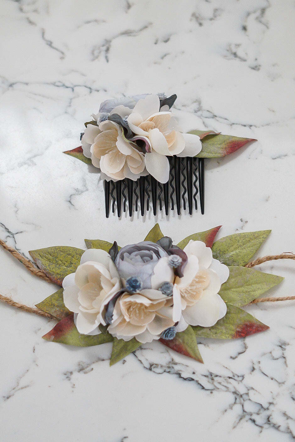 Amabel - Matching Set (Fits All 4inch crown & floral comb)