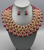 Burgandy Gold Collar