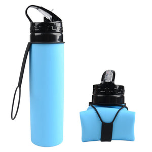 Folding Silicone Sports Water Bottle 600ml
