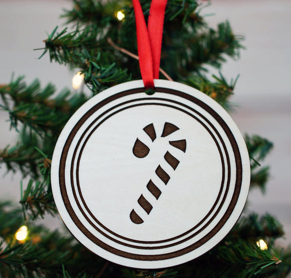 Candy Cane Custom Christmas Wood Ornament - Personalized Christmas Ornament - wooden christmas ornament - Candy Cane ornament