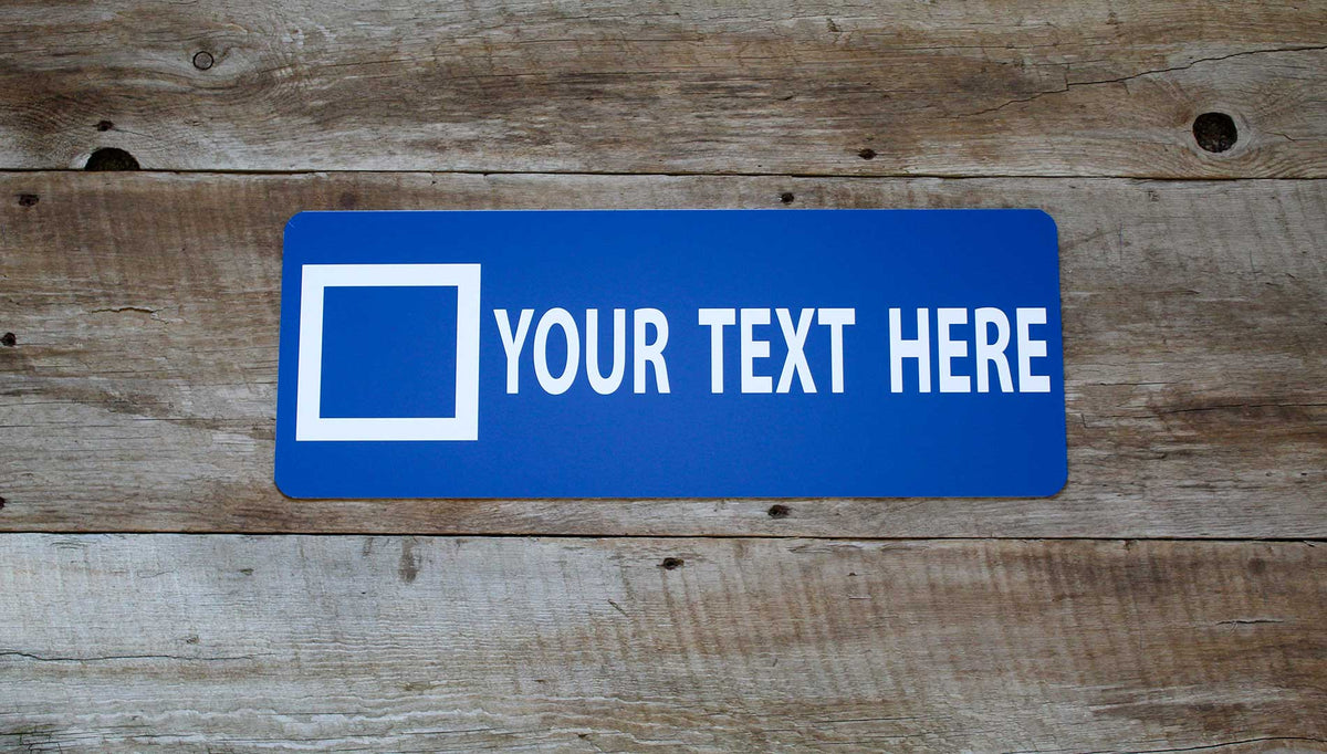 custom blue square ski sign with a blue background and white text that says 'your text here'