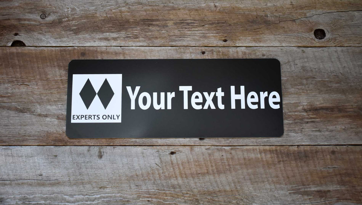 metal double black diamond ski run sign with a black background and white text that says 'Your Text Here'