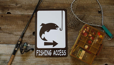 custom fishing access metal sign with a brown picture of a fish and hook and a spot for custom text