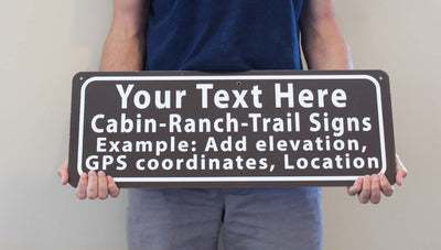 man holding a customizable brown sign with white text