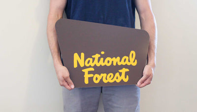 man holding a custom national forest sign with a brown background and yellow text that says 'national forest'