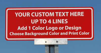 custom metal sign that comes in a variety of colors