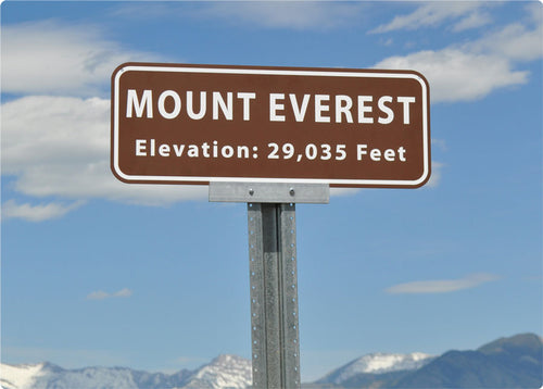 Mount Everest elevation metal sign with a brown background and white text
