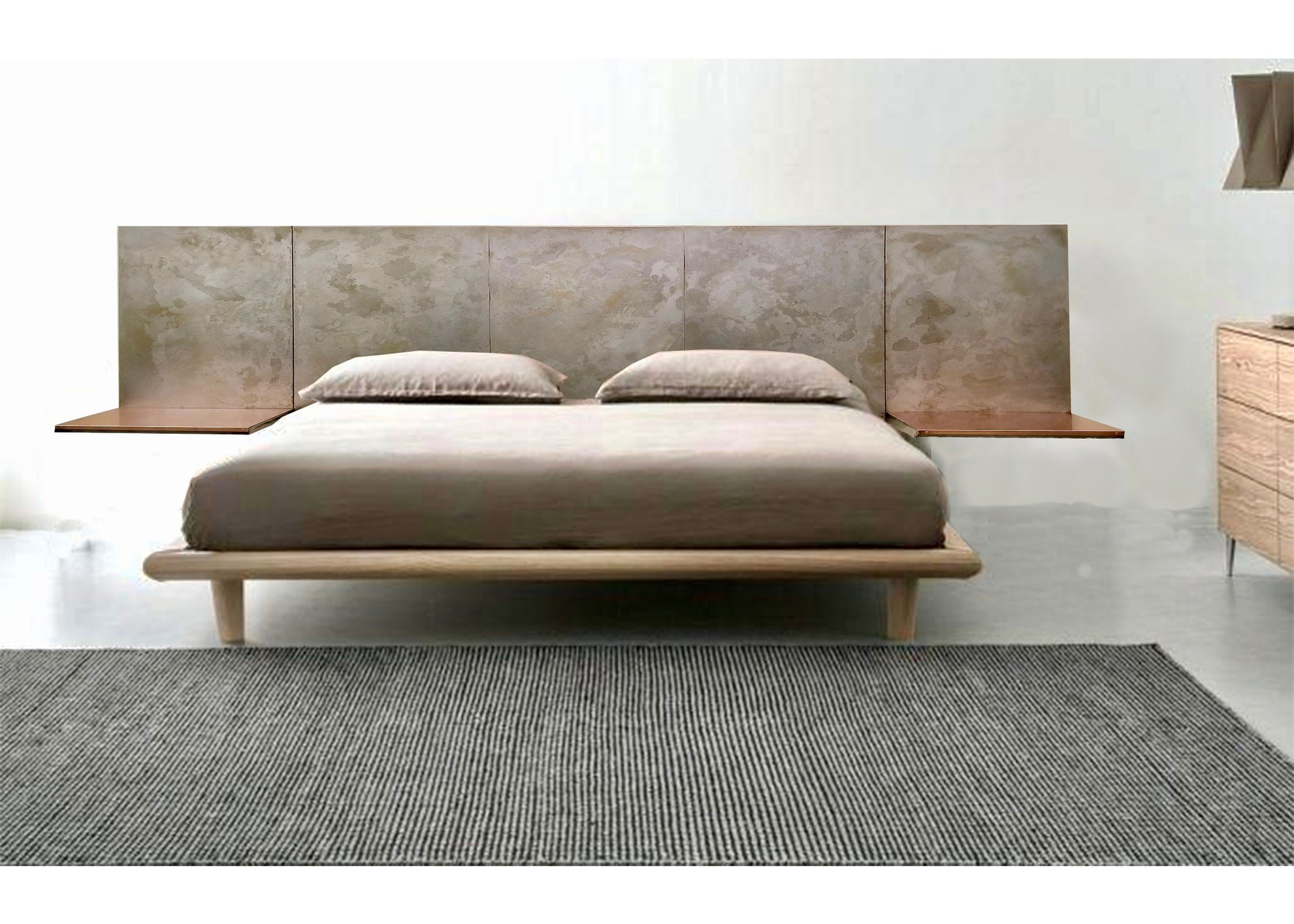 Load image into gallery viewer light pewter steel headboard with copper shelving wall mounted