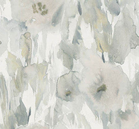 Watercolor Flowers In Grey - Wallpaper 10.9 Yard Bolt - Growing Days by Tamara Day