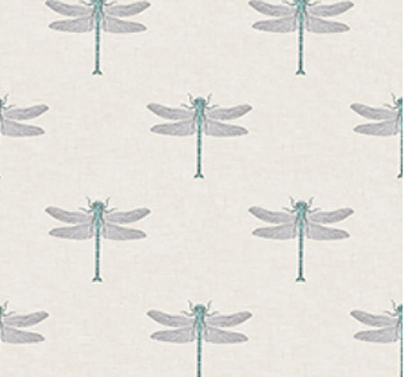 Turquoise Flying Dragon - Wallpaper 10.9 Yard Bolt