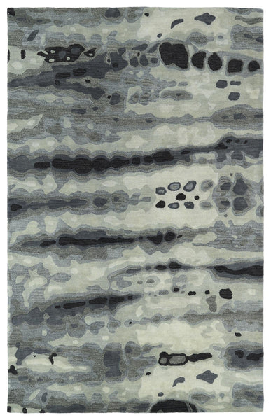 Brushstrokes Primitive Dyed Hand - Tufted 100% Wool Rug