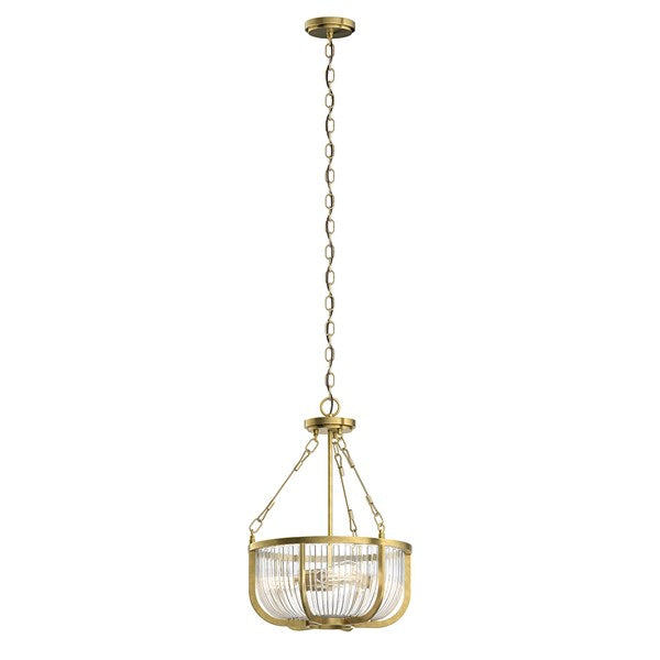 "Roux 22.25"" 3 Light Pendant Natural Brass"