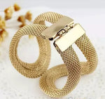 Elegent Alloy Wide Spring Cuff Bracelet - Trinket Fascinations Jewelry