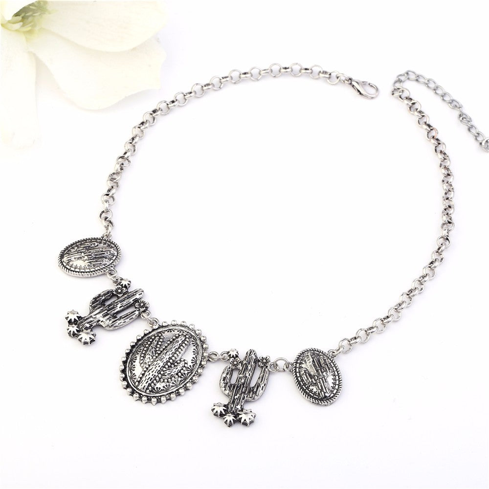 Vintage Silver Cactus shape Large Pendant Choker Necklace - Trinket Fascinations Jewelry