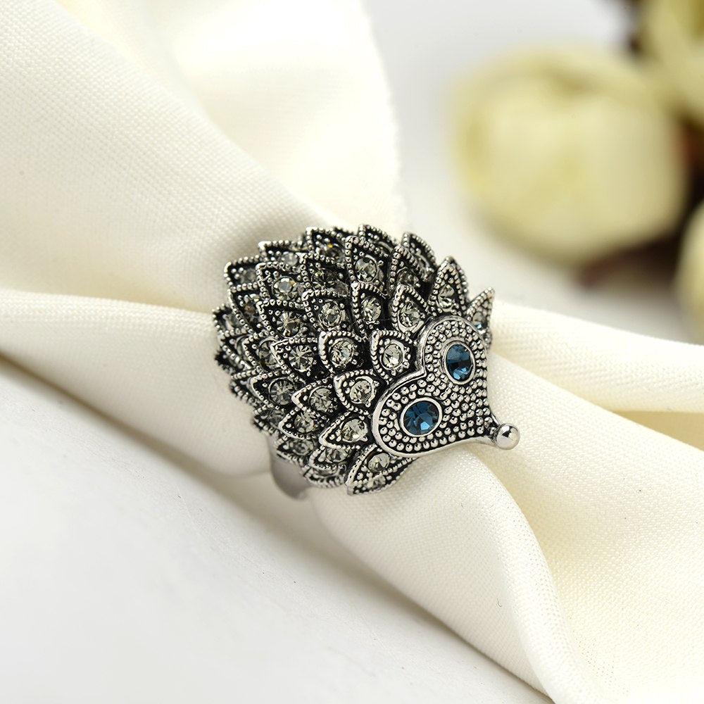 Unique Carved Antique Silver Hedgehog Ring - Trinket Fascinations Jewelry