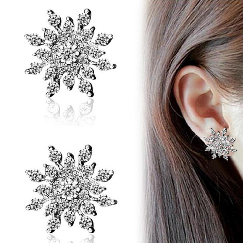 Dazzling Zircon Crystal Snowflake Earrings