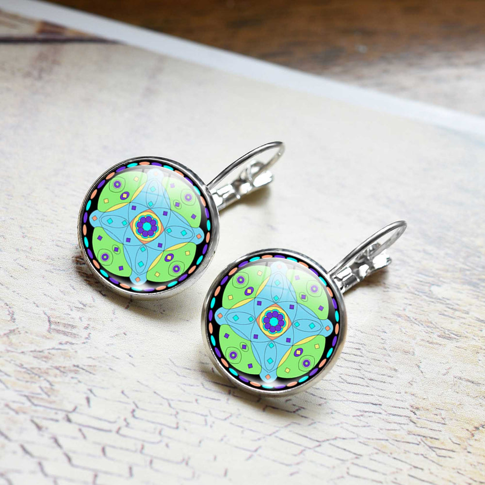 Mandala OM Symbol Glass Cabochon Earring - Trinket Fascinations Jewelry