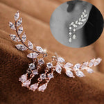 Gold Silver Plated Crystal Zirconia Leaves Tassel Earrings