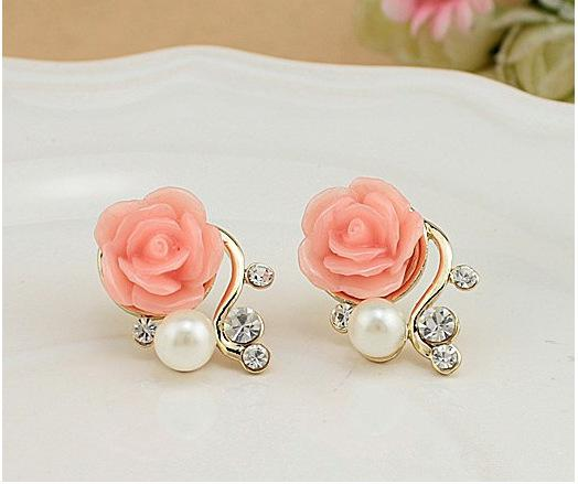Korean Rose Pearl Crystal Earrings