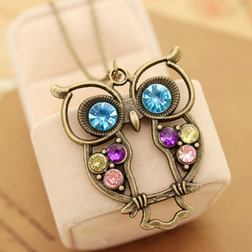 Vintage Colors Hollow Cute Owl Long Necklace
