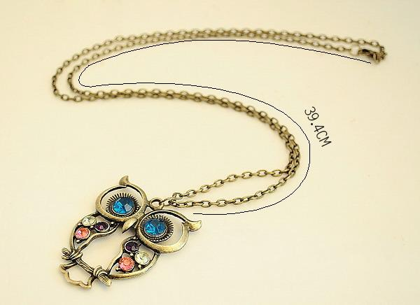 Vintage Colors Hollow Cute Owl Long Necklace - Trinket Fascinations Jewelry