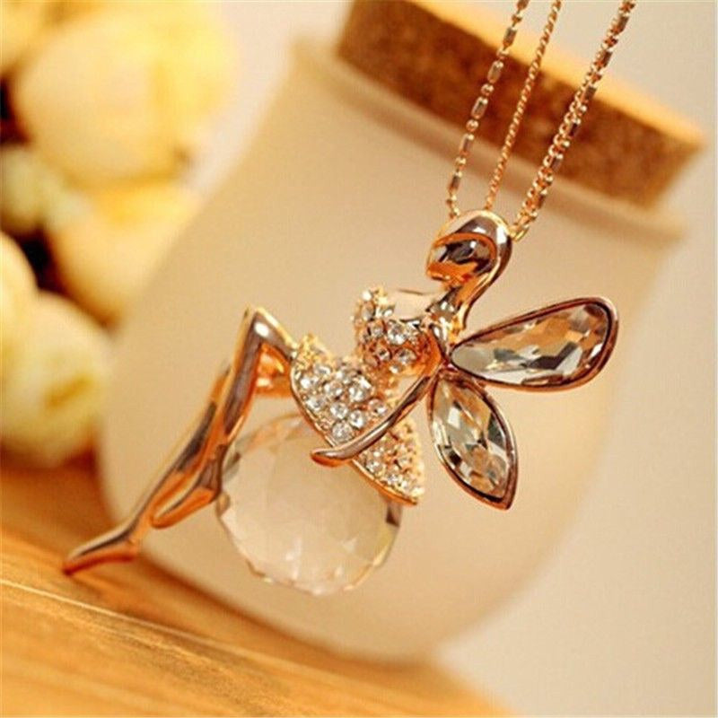 Crystal Fairy Angel Wings Gold Color Long Chain Necklace - Trinket Fascinations Jewelry