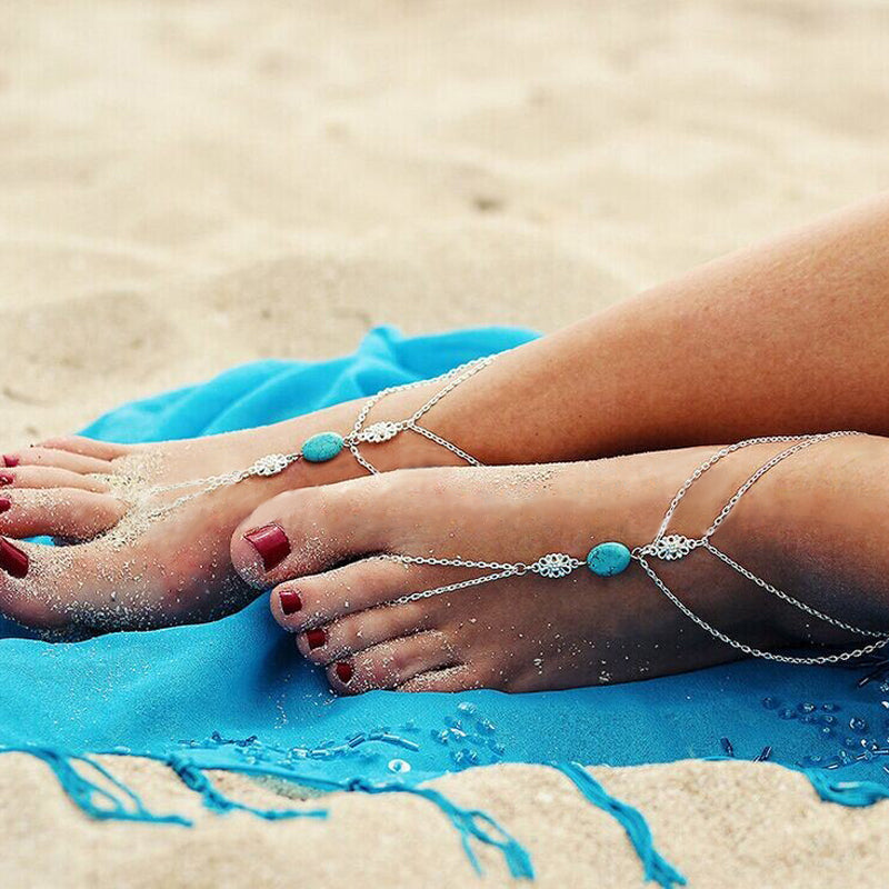 Summer Bohemian Turquoise Beach Anklet - Trinket Fascinations Jewelry