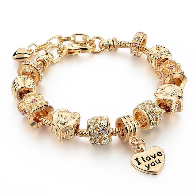 Crystal Heart Charm Gold Bracelet - Trinket Fascinations Jewelry