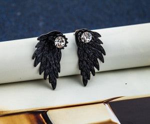 Gothic Angel Wings Rhinestones Earrings - Trinket Fascinations Jewelry