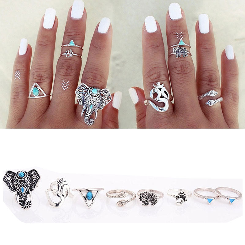8Pcs/set Boho Animal Tribal Rings - Trinket Fascinations Jewelry