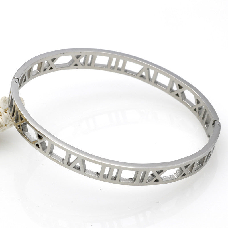 Hollow Roman Numeral Stainless Steel Bangle For Women - Trinket Fascinations Jewelry
