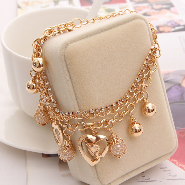 Mulitlayer Gold Chain Heart Charm Bracelets - Trinket Fascinations Jewelry