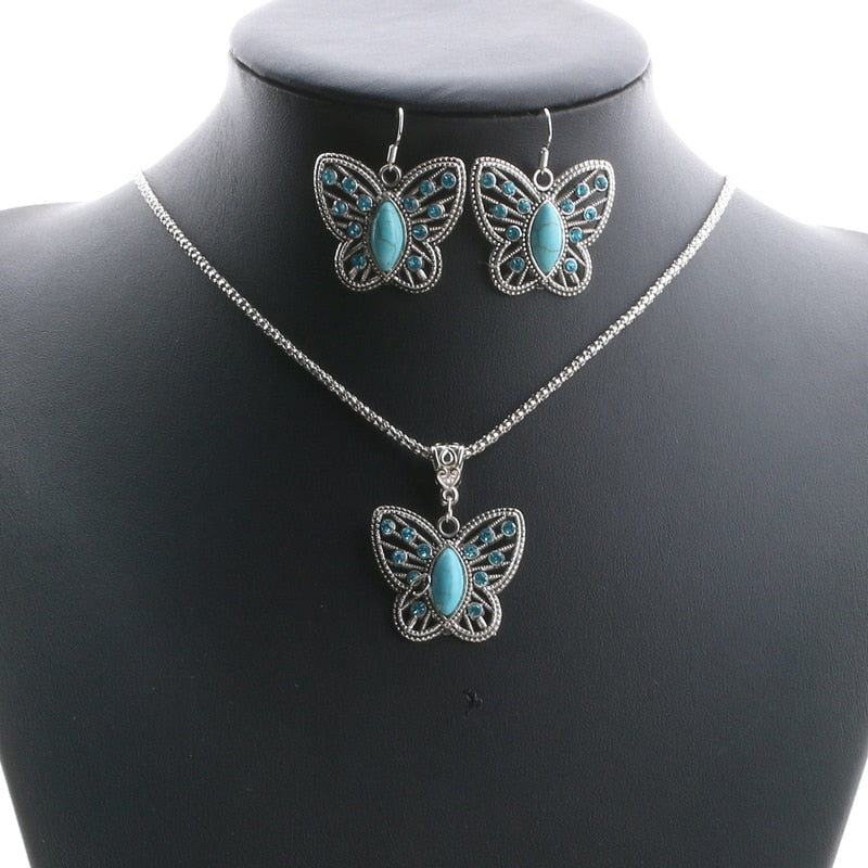 Boho Turquoise Silver Butterfly Statement Jewelry Set. Necklace Earrings - Trinket Fascinations Jewelry